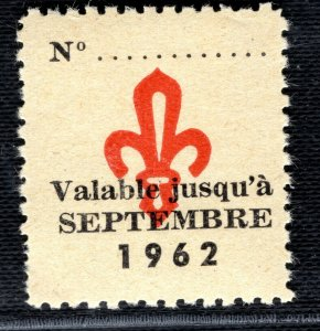 SCOUTS STAMP/LABEL France Valable Jusqu'a 1962 Mint UMM MNH 2WHITE94