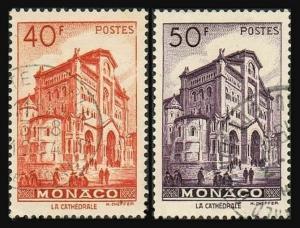 Monaco 231-232,used.Michel 392-393. Scenic 1949:Cathedral of Monaco.