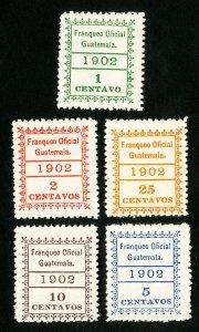 Guatemala Stamps # O1-5 VF OG NH Catalog Value $100.00