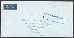 DOMINICAN REPUBLIC 1983 cover to Dominica WI MISSENT.......................60803