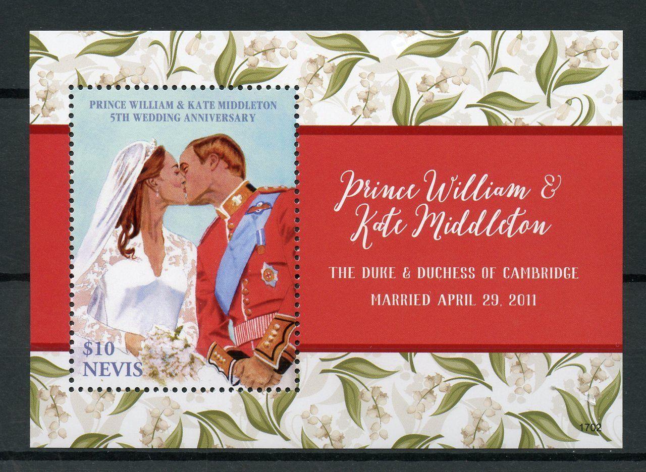 Nevis 2017 MNH Prince William & Kate 5th Wedding Anniv 1v S/S ...