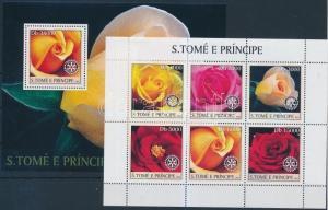 Sao Tomé e Príncipe stamp Roses mini sheet + block MNH 2003 WS191630
