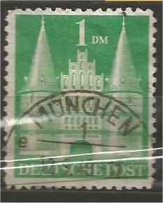 GERMANY, 1948, used 1m yellow grn, Lubeck Scott 658