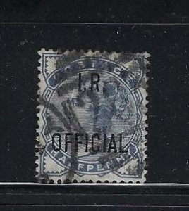 GREAT BRITAIN SCOTT #O3 1882-85 I.R. OFFICIAL 1/2P  (SLATE BLUE) - USED