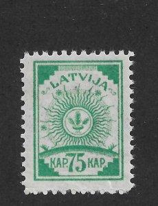 Latvia 1919, Coat of Arms, 75k, Pelure paper, Scott # 24, VF MNH**OG