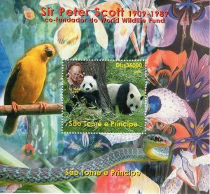 St.Thomas and Prince 2004 Sir Peter Scott WWF founder-PARROTS/PANDA S/S PERF.MNH