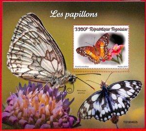 A3284 - TOGO, ERROR MISPERF, Souvenir sheet: 2019, Butterflies, Flowers