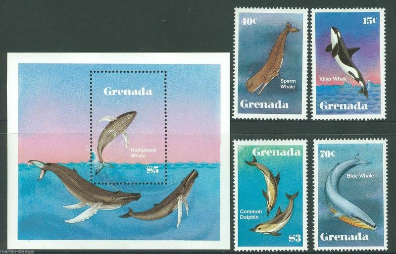 GRENADA  FISH SC#1140/44  MINT NEVER HINGED AS SHOWN