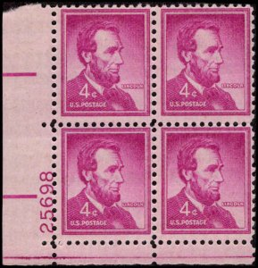 US #1036a ABRAHAM LINCOLN MNH LL PLATE BLOCK #25698 DURLAND .50¢