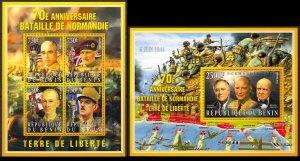 BENIN 2014 WORLD WAR II CHURCHILL GAULLE MONTGOMERY GUERRE MONDIALE [#1440P]