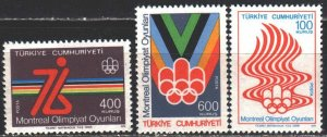 Turkey. 1976. 2398-2400. Montreal, summer olympic games. MNH.