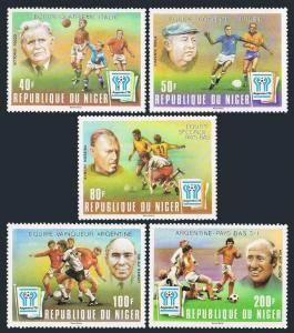 Niger 453-457,458,MNH.Michel 639-643,Bl.21.World Soccer Cup Argentina-78.Winners