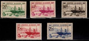 ALGERIA Scott 126-130 MH*  stamp set,  adhesion on two see back scan