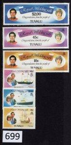 $1 World MNH Stamps (699), Tuvalu, #157-162, Royal Wedding, set of 6
