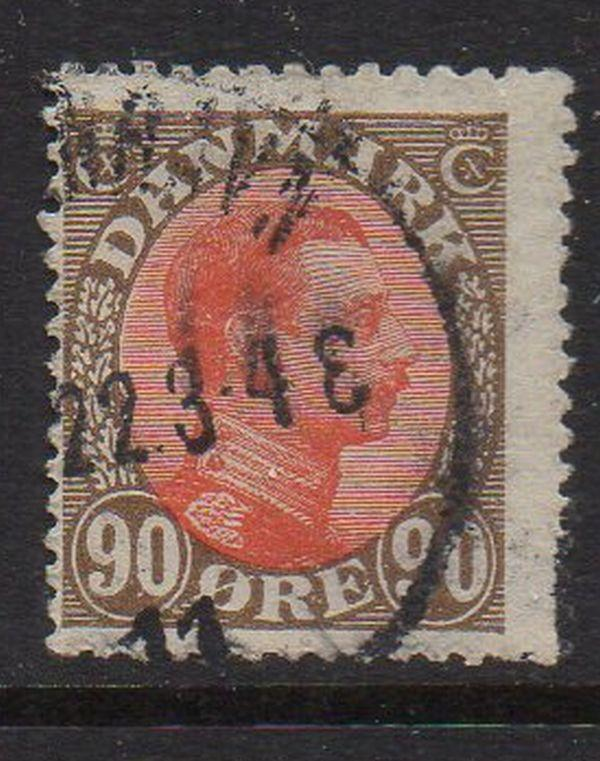 Denmark Sc 127 1920 90 ore brown & red Christian X stamp used