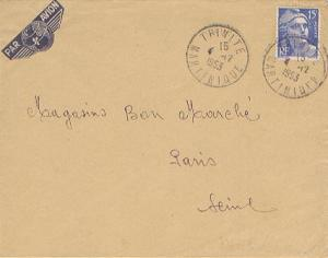 Martinique France 15F Marianne Gandon 1953 Trinite, Martinique Airmail to Par...