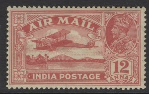 INDIA SG225w 1929 12a ROSE-RED WMK STARS POINTING LEFT MTD MINT