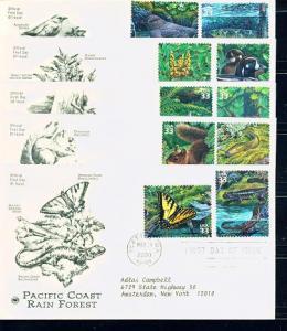 3378a-j Pacific Rain Forest,Five Covers PCS