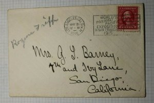 US Sc# 425 Used On Cover 1915 Worlds Panama Pacific Exposition S.F. CA LA Sta H