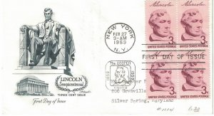 #1114, 3c Abraham Lincoln, Artmaster cachet, block of 4