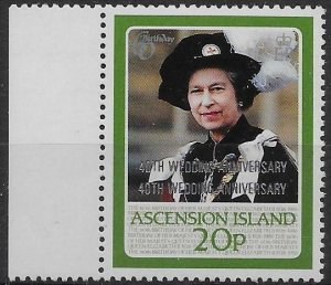 ASCENSION SG449a 1987 RUBY WEDDING 20p OVPT DOUBLE VAR MNH