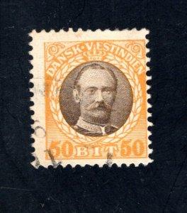 Danish West Indies #50,  F,  Used,   CV $14.00 ....1630048