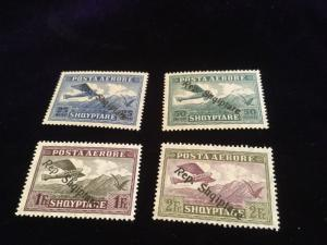 Albania Airmail Scott #'s C10,11,12,13 Mint Stamps