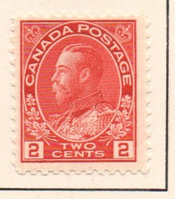 Canada Sc 106 1911 2 c carmine GV Admiral issue stamp mint