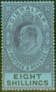 Gibraltar 1903 8s Dull Purple & Black-Blue SG54 Fine & Fresh Lightly Mtd Mint (1