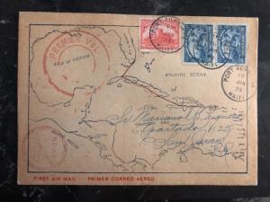 1929 Port Prince Haiti First Flight Cover FFC To San Juan Puerto Rico Map