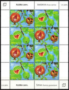 Bosnia / Croatian Post 2011 Flora Fruits sheet of 8 MNH