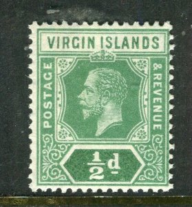 BRITISH VIRGIN ISL; 1912 early GV issue fine Mint hinged 1/2d. value
