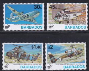 Barbados # 901-904, Airplanes - Helicopters, NH, 1/2 Cat