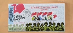 1987 SINGAPORE U/A REGISTERED FDC ON MS 20 YEARS OF NATIONAL SERVICE
