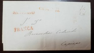 O) 1815 CIRCA- CHILE, MAIL BY VAPOR CABOTAJE, PREPHILATELY -STAMPLESS, FROM SANT