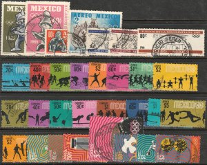 MEXICO GROUP OF 31 USED OLYMPIC AND PRE-OLYMPIC STAMPS OF THE 1968 OLYMPIAD. VF.