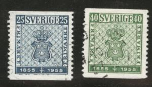 SWEDEN Scott 474-475 used 1955 coil stamps