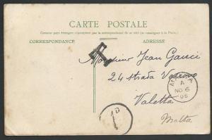 MALTA 1905 postcard ex France postage due 1d in circle etc.................53269