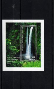 Samoa 2013 MNH Waterfall 1v Sheet Fuipisia Falls Upolu Islands River Plants