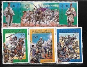 LIBYA, 1215-1218, MNH, MINI SHEETS & STRIP OF 3, EVACUATION DAY