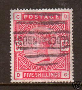 Great Britain Sc 108 used 1884 5sh carmine rose QV