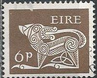 Ireland 256 (used) 6p dog from ancient brooch, brown (1968)