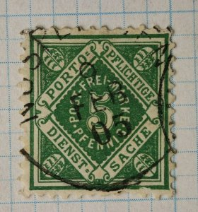 Germany Wurttemberg sc#o4 postally used official state postage stamps