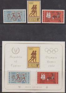 Cyprus 2016 Scott #241-243, 243a Mint VF-NH 1964 Olympics Set & SS