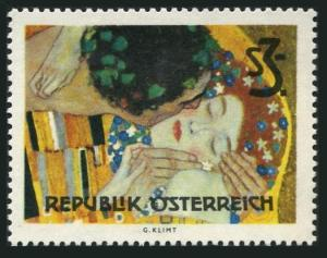 Austria 727 block/4,MNH.Mi 1154. Vienna Secession,1964.The Kiss,by Gustav Klimt.