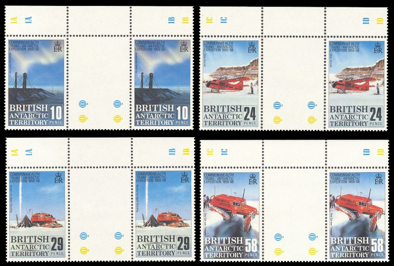 British Antarctic Territory 1988 Scott #145-148 Gutter Pairs Mint Never Hinged