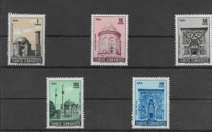 TURKEY/1968-1969 - HISTORICAL MONUMENTS, MNH, Mi: 2115/2119, SC# 1792/1796