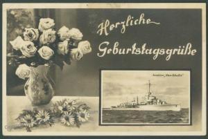 Germany 1940 Destroyer Max Schultz Feldpost AA1 T-Boat Group RPPC 18208