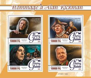 Guinea Harry Potter Stamps 2016 MNH Alan Rickman Tribute Severus Snape 4v M/S