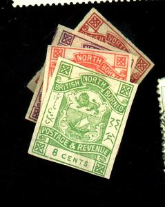 North Borneo #37-39 42 MINT Imperfs F-VF OG LH Cat $80